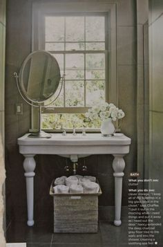bathroom sink.  A big mirror or a wall mounted one allows a window over the sink if needed.