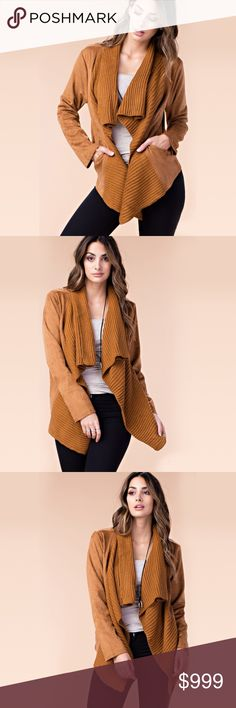 "Sami Faux Suede & Knit Jacket in Tan Roar into fall with an edge in this drape jacket!  Small: 20"" chest (measured flat), 24"" length Medium: 21"" chest (measured flat), 24"" length Large: 22"" chest (measured flat), 25"" length  92% Polester, 8% Spandex  ¤ Follow me on instagram! ¤ @hestiaswardrobe Hestia's Wardrobe Jackets & Coats"