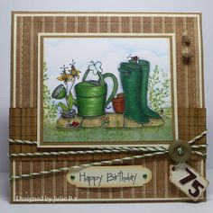 """""""Wellies Delight"""" by LCI fits the bill perfectly, it's a shame I . Birthday Card Pop Up, Homemade Birthday Cards, Birthday Cards For Boys, Male Birthday, Masculine Birthday Cards, Masculine Cards, Homemade Cards, Watercolor Birthday Cards, Craftwork Cards"""