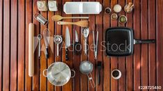 Stock Video of Stop motion timelapse of important kitchen utensils and cooking items displayed in a neat overhead/flat lay manner on a wooden table. at Adobe Stock Stop Motion, Wooden Tables, Kitchen Utensils, Manners, Stock Video, High Quality Images, Flat Lay, Stock Footage, Adobe