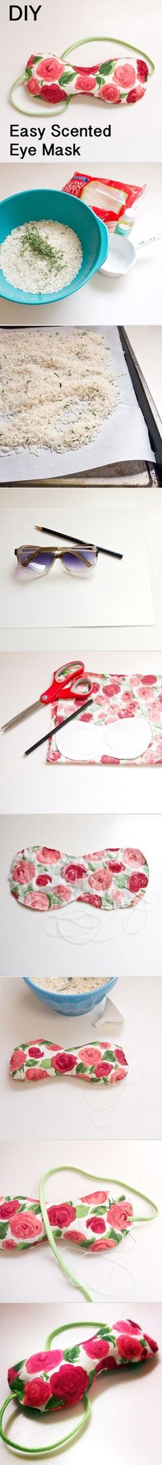 DIY ~ How to make this microwavable eyemask that's infused with herbs and relaxing essential oils.