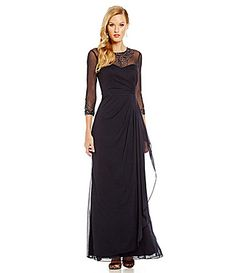 JS Collections Beaded Illusion Necklace Gown #Dillards