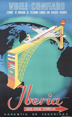 Buy online, view images and see past prices for Original Spanish Airline Travel Poster IBERIA. Vintage Advertising Posters, Vintage Travel Posters, Vintage Advertisements, Vintage Ads, Vintage Airline, Airline Travel, Travel And Tourism, Air Travel, Poster Art