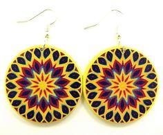 Yellow boho earrings, bohemian statement earrings, decoupage mandala earrings, large round dangle earrings, colorful handmade hippie jewelry...