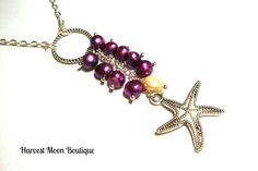 Cultured Pearl Wedding Necklace Purple Pearl Bridal Jewelry Handfasting Starfish Cluster Tassel Bride Necklace Purple Pearl White Pearl by AngiePinkal