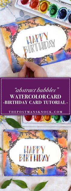 Abstract Bubbles Watercolor Birthday Card Tutorial   The Postman's Knock