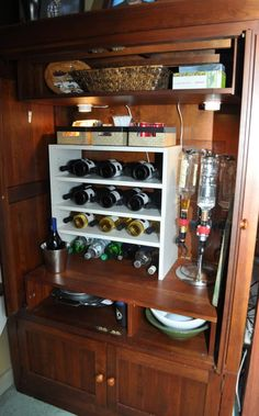Ethan Allen Entertainment Center Turned Bar. No Longer Needing It To Store  A Tv,