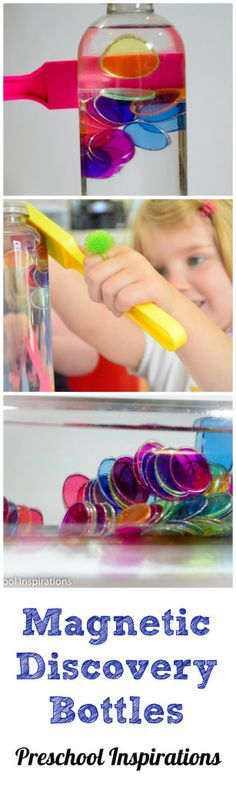 Magnetic Discovery Bottles! Such a fun take on discovery bottles! A great way for preschoolers to explore magnetic properties!
