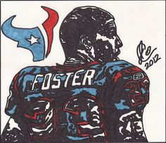 Color Ink Illustration #1 of Houston Texans RB Arian Foster, 16x20 glossy poster print $49.99.  By Jeremiah Colley