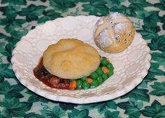 Shepherd's Pie and Irish Soda Bread - When your dolly is in the mood for a meaty, savory comfort-food, serve her this delicious Shepherd's Pie, lovingly made with ground beef, peas, carrots, and onions in a rich tomato sauce then topped with mashed potatoes.  Served with a light, fluffy Irish Soda Bread bun that is stuffed with sweet currants.  Yummmm!
