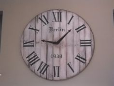 Custom Giant 4ft Pallet Clock. Custom stencils with custom chalk paint. http://www.facebook.com/2ndEssence