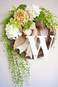 Antique White Hydrangea Monogram Grapevine Wreath with Burlap. Spring Summer Wreath. Housewarming, Wedding, Mothers Day. Monogram Wreath. on Etsy, $69.00