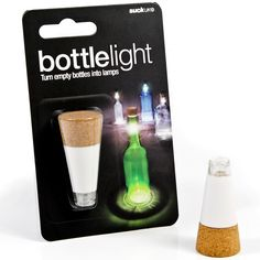 Cool way to decorate with beautiful old wine bottles! Rechargeable Bottle Light.