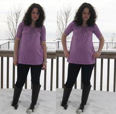 DIY Maternity Refashion : DIY T-shirt to pin tuck tunic