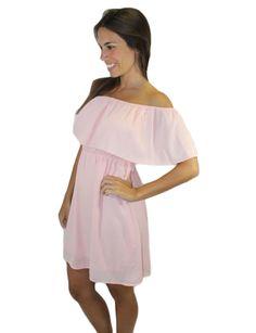Strapless Off Shoulder Pink Dress
