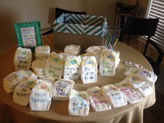 Baby Shower idea! Night-time diaper messages to lighten the mood for those midnight changes. 'Leave a message, sweet or saucey. All of these are for our mommy!'
