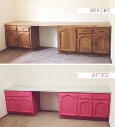 My Studio: Sewing table build-in revamp - great way to repurpose kitchen cabinets for a sewing/craft surface