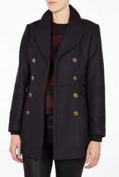 Navy Fitted Peacoat By Burberry Brit