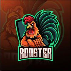 Rooster esport mascot logo design Premiu... | Premium Vector #Freepik #vector #logo #design #sport #character Logo Gamer, Logo Esport, Rooster Logo, Game Logo Design, Esports Logo, Skull Illustration, Fashion Logo Design, Photography Logo Design, Typographic Logo