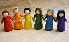 Rainbow Children Waldorf inspired needle felted doll: GIRL OR BOY.Made to Order Felt Wall Hanging, Felt Fairy, Needle Felted, Waldorf Toys, Flower Fairies, Boy Doll, Fairy Dolls, Felt Toys, Felt Flowers