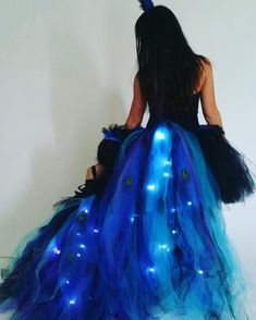 Adult Peacock with LED lights Blue Feather, Peacock Feathers, Led, Stretchy Material, Halloween, Ball Gowns, One Piece, Formal Dresses, Trending Outfits