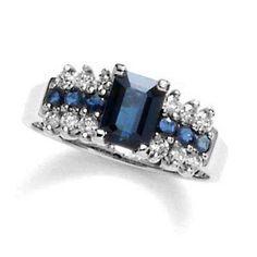 Rectangular Sapphire and 1/4 CT. T.W. Diamond Ring in 10K White Gold - Zales