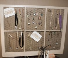jewlery display, with the chicken wire could use it for something besides jewelry...