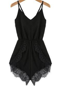 Black Spaghetti Strap Lace Chiffon Jumpsuit -SheIn(Sheinside) Mobile Site