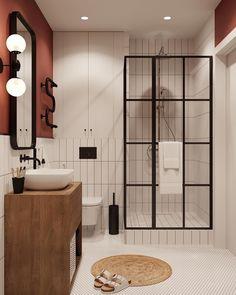 Funky Design Powder room/ guest bathroom - - Blinds give your Bathroom Interior Design, Interior Design Living Room, Design Bedroom, Interior Livingroom, Apartment Bathroom Design, Diy Bedroom, Interior Design Minimalist, Urban Interior Design, Minimalist Bathroom Design