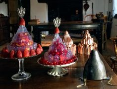 """""""Macedoine Jelly Revisited"""" from Food History Jottings - Photo of recreations of 1870s maraschino fruit macedoine jellies by British food historian, Ivan Day, made using a mould from the period."""
