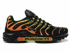 Officiel Nike Air Max Tn/Tuned Requin 2014 Chaussures de Basketball Pas Cher Pour Homme noir/orange 604133-301