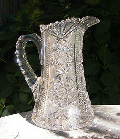 "One American Brilliant Cut Glass Pitcher by Blackmer Pattern ""Columbia"" 10""Tall | eBay"