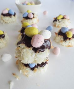 Coconut Macaroon Easter Nests. Here's a great idea for an Easter dessert! They're so chewy and so moist! Just like your favorite almond joy candy bar in a delicious cookie.