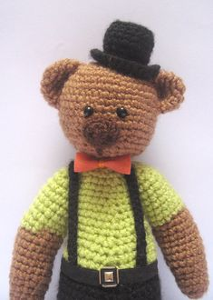Cute Bear with Top Hat Crochet PATTERN by FairyDustPatterns