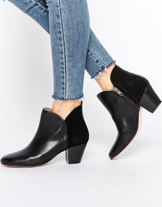 Hudson London Chime Black Leather Heeled Ankle Boots
