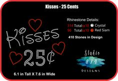 Rhinestone Transfer Template - Valentine's Day Pattern- Kisses 25 cents - DOWNLOAD Stencil - DIY - Sticky Flock Template by Studio874Designs on Etsy