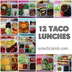 Taco lunches packed 12 DIFFERENT ways! Great school lunch idea! #EasyLunchboxes