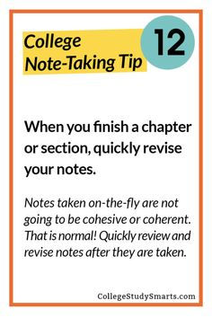 When you finish a chapter or section, quickly revise your notes.  Notes taken on-the-fly are not going to be cohesive or coherent. That is normal! Quickly review and revise notes after they are taken.