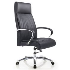 Forbes Genuine Leather Aluminum Base High Back Executive Chair | Zuri Furniture #ZuriFurniture