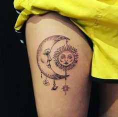 Sun and Moon Mobile Tattoo by Eli Bischof