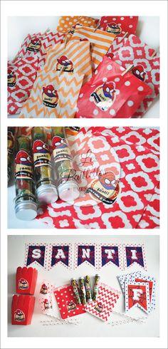 CANDY BAR. Tubos Golosineros Personalizados + Kit Completo. Banderin. Vasos, Sorbetes, Pochocleras, Sobres Estampados #Spiderman #cumpleaños #red #party #dot #blue #boy #candybar