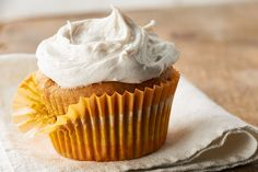 What could make a moist pumpkin cupcake better? Cream cheese frosting spiced with cinnamon, of course!