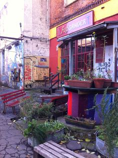 Feinkost, Historic market area. Cute hippy shops and a kids book store. Worth a visit.