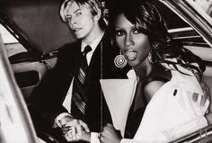 David Bowie & Iman glamming it up in the backsesat