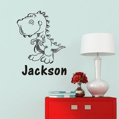 Personalized Name Customer Dinosaur Rex Jumping Animal wall decal quote sticker //ebay shop:http://stores.ebay.com/leyintzonline //website:http://ws.metoshop.com