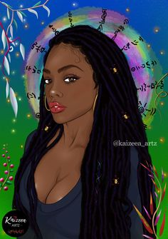 Home - Kaizeea Artz- A Daydreamer that creates from Love, Soul and the Guided Spirits. Black Girl Art, Black Women Art, Black Girl Magic, Art Girl, Black Man, Cartoon Hair, Black Characters, Art Africain, African Artists