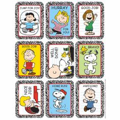Going to cut down into strips of three to put in the favor bags. Peanuts Motivational Giant School Stickers | Eureka School