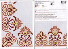 Cross Stitch Boarders, Cross Stitch Flowers, Cross Stitch Designs, Cross Stitching, Cross Stitch Embroidery, Cross Stitch Patterns, Vintage Borders, Rico Design, Crochet Motif