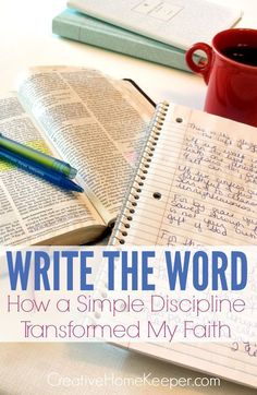 Writing the Word is a simple devotional discipline. It& a habit allowing you to go deep into God& Word instead of passively reading through. Simple and effective, this written discipline has completely transformed my faith and will transform yours too! Bible Study Tips, Bible Study Journal, Scripture Study, Prayer Journals, Scripture Journal, Bible Study Notebook, Scripture Memorization, Prayer Book, My Bible