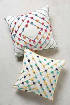 Pom pom cushions - Embroidered Suzette Pillow